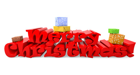 gladden: an image of Merry Christmas 3d text on white background Stock Photo