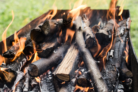 An image of burning firewood Stock Photo
