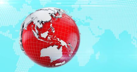 3D globe with white continents and a red ocean