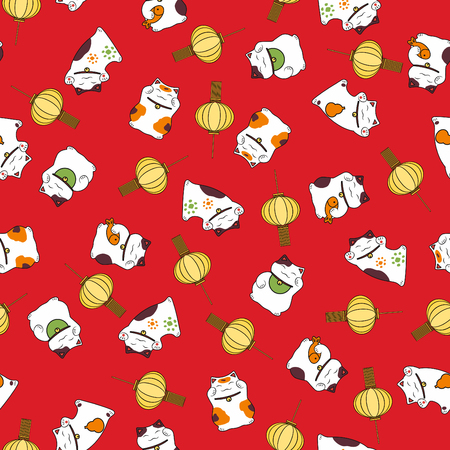 Pattern set of cute luck symbol maneki neko and festive light on a red illustration. Illustration