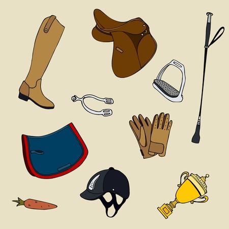 Set of equestrian equipment vector illustration