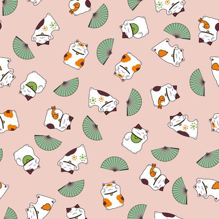 Modèle sans couture gentil beaux chats d'un maneki neko un ventilateur apporter bonne chance. Banque d'images - 92826854