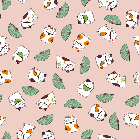Seamless pattern nice lovely cats of a maneki neko a fan bring good luck. 일러스트