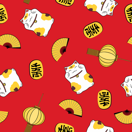 Cute seamless pattern open fan happy coin festive lantern and symbol of good luck cat maneki neko on red background. Vettoriali