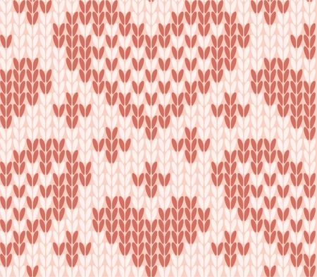 Seamless pattern a knitted cloth with hearts illustration.