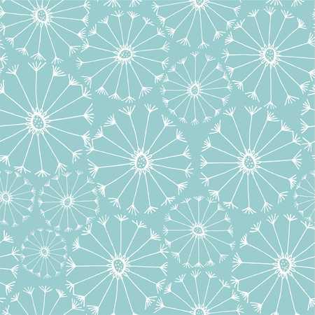 Flower pattern white dandelions on a blue background illustration.