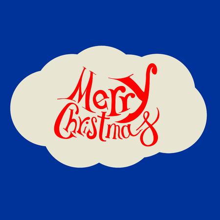 Marry Christmas hand drawn lettering on blue background illustration. Illustration
