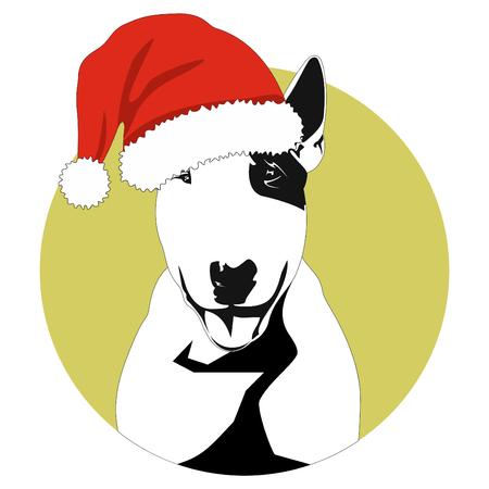 dog symbol of the year in santa hat bull terrier Illustration