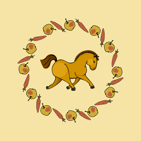 Cute runring horse in apple and carrot wreath. Illustration
