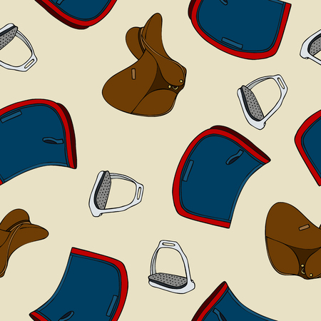 A seamless pattern equestrian sport saddle pad stirrup