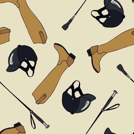 A seamless pattern equestrian sport whip helmet boots