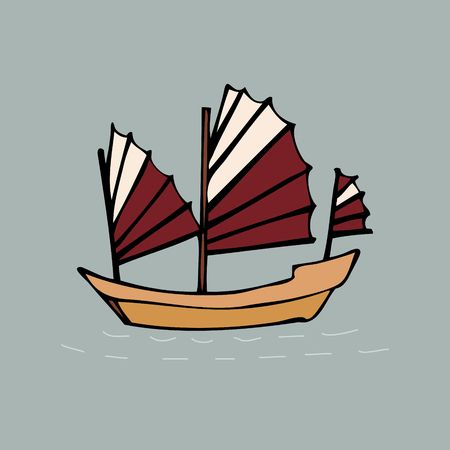 Oriental traditional Chinese, Japanese, Vietnamese sailing ship junk illustration.