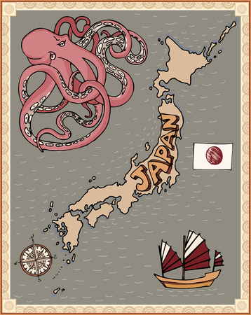 retro stylization map of japan national japanese flag wind rose compass octopus junk