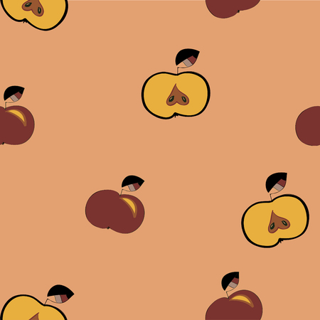 Seamless pattern red apples. Illustration