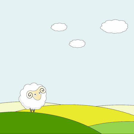 Background the cartoon a lamb on a meadow.
