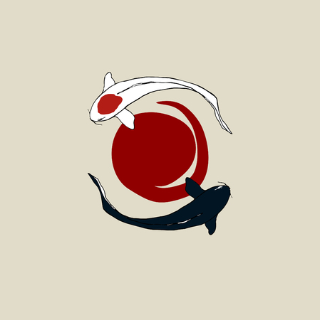 Japanese flag sun carps koi. Illustration