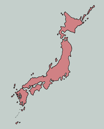 Oriental geographic map japan. Illustration