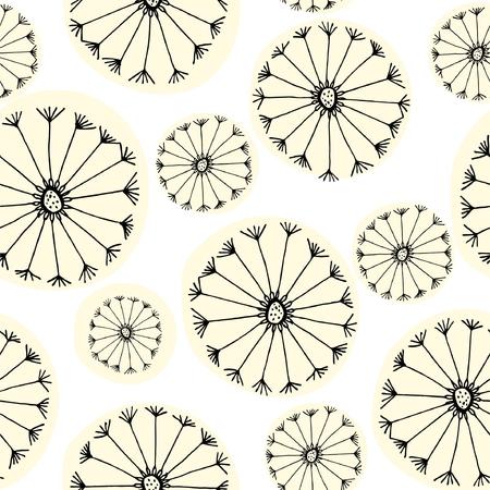 Seamless pattern flowers dandelions. Illustration