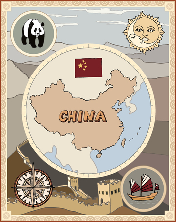 Stylized retro china map with rose wind compass, panda, sun, and junk boat