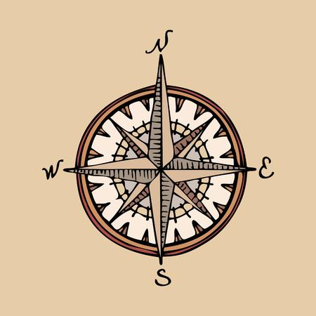 Handgezeichneter Retro-Kompass für eine alte Karte Standard-Bild - 94027297