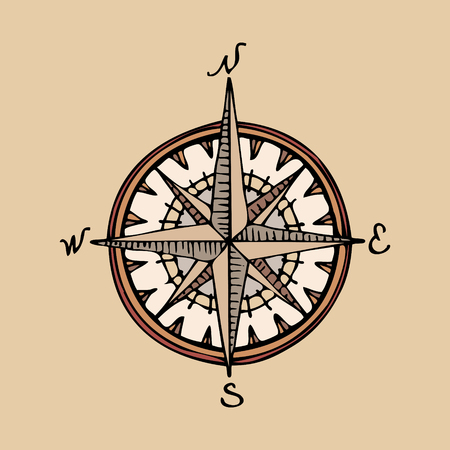 handdrawn retro compass for an oldicy map