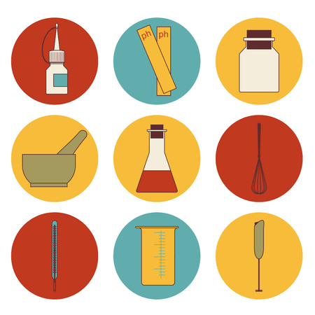 A  set of round icons of tools for handwork soap Stock Illustratie
