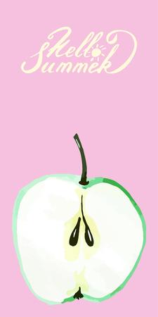 Lettering the text hello summer juicy fresh sweet apple slice card Illustration