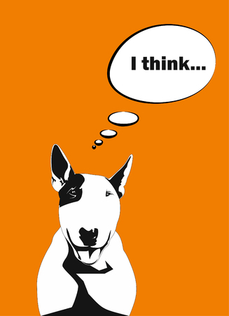 Joyful dog a bull terrier with a balloon for the text on a bright orange background