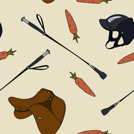 Cartoon seamless pattern equestrian sport carrot saddle whip helmet.