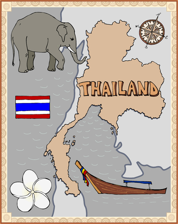 Stylized retro map of Thailand