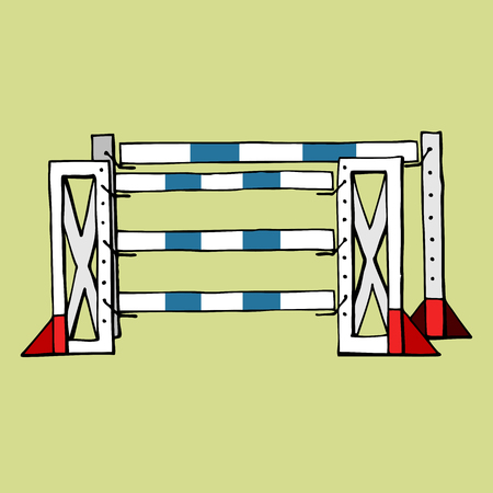 equestrian sport Jumping isolated obstacle oxer vector flat