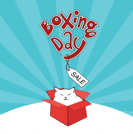 boxing day cute white cat in a red box sale
