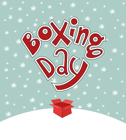 boxing day card lettering and snow