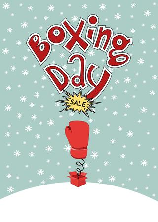 boxing day card lettering and snow sale Ilustração