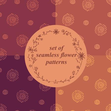 set of seamless ethnic flower patterns Ilustração