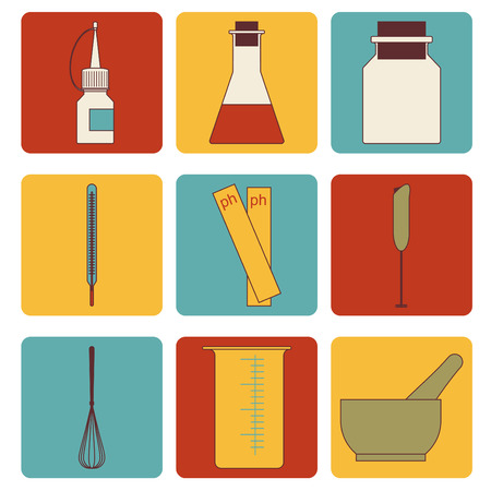 set icons tools for craft soap creation