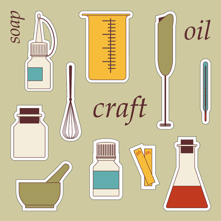 set sticker icons soap manufacture tools for craft
