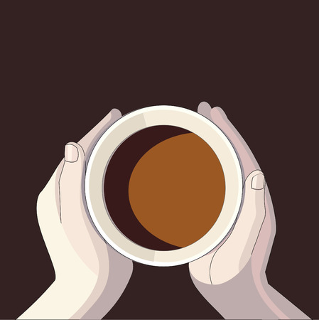 top view of a cup of coffee in hands Ilustração