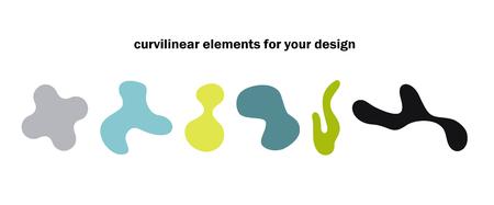 trendy minimal design fluid color shapes set Ilustração
