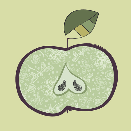 the drawing of apple with a flower pattern