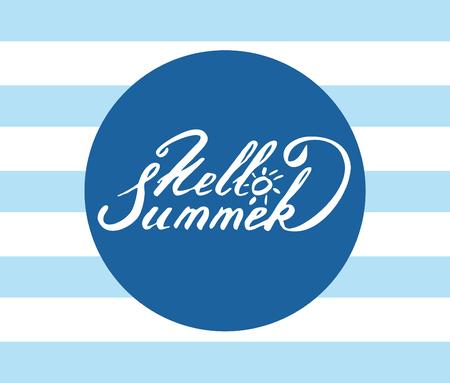 handdrawn lettering Hello Summer Ilustração