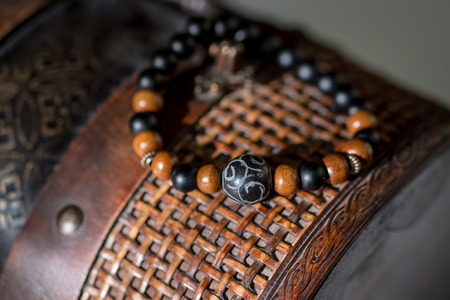 Beautiful bracelets with gemtones and wooden beads.