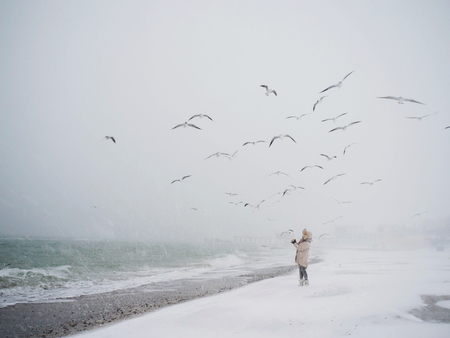 Young girl is standing by the sea and feeding gulls with bread. Winter time, snowing, cold temperature, hungry birds, seagulls