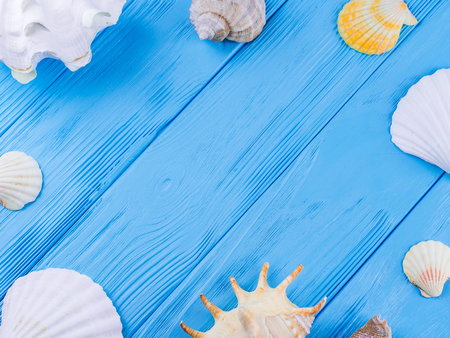 Various kinds of sea shells frame on blue vintage shabby wood table. Summertime sea vacation background with starfish and rapana Stock Photo