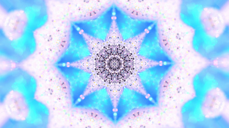 Abstract background. Kaleidoscopic. Christmas mandala-snowflake kaleidoscope sequence. Mirror prism creating toy effect