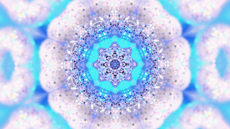 Fractal Noise and Kaleidoscopic. Pattern made with Particle System. mirror prism creating toy effect, with shimmering lights and fast changing mandala shapes Banco de Imagens - 113058850