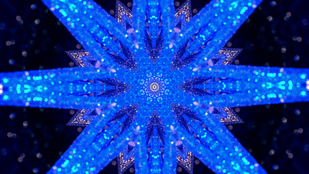Fractal Noise and Kaleidoscopic. Pattern made with Particle System. mirror prism creating toy effect, with shimmering lights and fast changing mandala shapes Banco de Imagens - 113058868