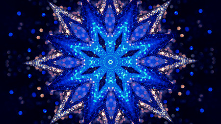 Fractal Noise and Kaleidoscopic. Pattern made with Particle System. mirror prism creating toy effect, with shimmering lights and fast changing mandala shapes Banco de Imagens - 113058872