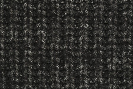 Real black knit texture. Background, pattern concept. Knitted fabric made of heathered yarn