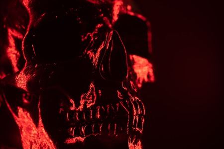 Ancient human skull head close-up. Neon red light. Spooky and sinister. Glamour, disco, halloween concept 免版税图像 - 119681587